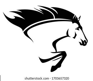 beautiful mustang horse with flying mane - speeding forward stallion side view black and white vector portrait