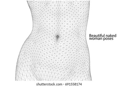 Schöne nackte Frau Pose. Frauenkörper. 3D-Wireframe-Vektorgrafik.