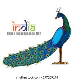 Beautiful national bird Peacock on shiny background for Indian Independence Day celebration.