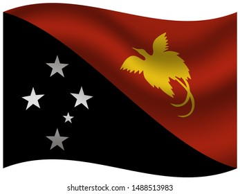 Beautiful national flag of Independent State of Papua New Guinea. original colors and proportion. Simply vector illustration eps10, from countries flag set.
