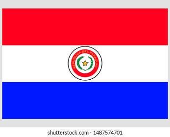 Beautiful national flag of Republic of Paraguay. original colors and proportion. Simply vector illustration eps10, from countries flag set.