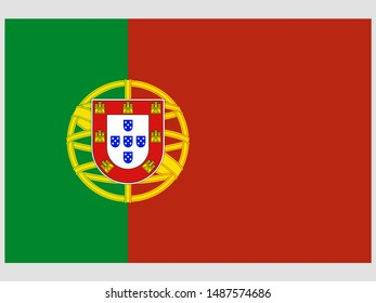 Beautiful national flag of Republic of Portugal. original colors and proportion. Simply vector illustration eps10, from countries flag set.