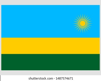 Beautiful national flag of Republic of Rwanda . original colors and proportion. Simply vector illustration eps10, from countries flag set.