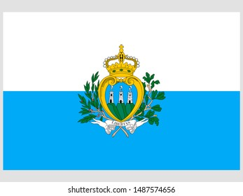 Beautiful national flag of Republic of San Marino. original colors and proportion. Simply vector illustration eps10, from countries flag set.