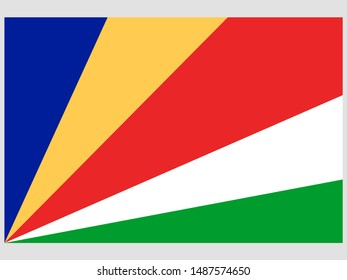 Beautiful national flag of Republic of Seychelles .original colors and proportion. Simply vector illustration eps10, from countries flag set.
