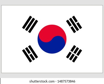 Beautiful national flag of Republic of South Korea. original colors and proportion. Simply vector illustration eps10, from countries flag set.