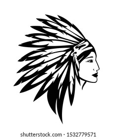 beautiful native american indian woman wearing feathered tribal warbonnet - black and white vector profile portrait