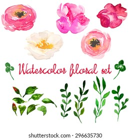 Beautiful natural hand drawn watercolor floral set with pink, white and purple flowers, leaves and brunch, isolated on white background. Vector clip art illustration.