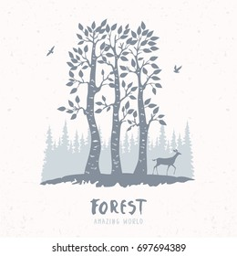 Beautiful nature with amazing silhouette of forest and stylized deer. Vector illustration.