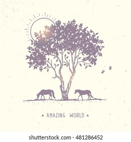 Beautiful nature with amazing silhouette tree and horses. Vector illustration