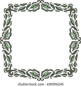 Beautiful nature frame of leaves. Vector illustration.