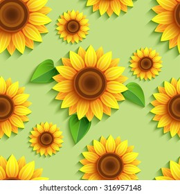 Beautiful nature green background seamless pattern with 3d sunflower. Floral trendy backdrop with stylized yellow, orange summer flower and leaves. Bright stylish modern wallpaper. Vector illustration