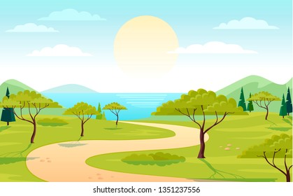Beautiful nature green park and sea beach view