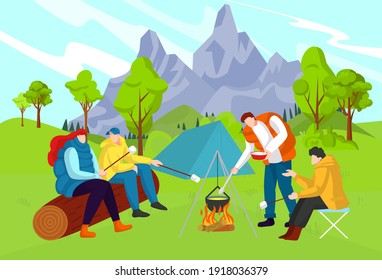 Beautiful nature, interesting adventure, tourist camp, travel in forest near mountains, design cartoon style vector illustration. Cheerful outdoor picnic, men and women preparing lunch, bright bonfire