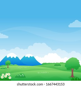 Beautiful nature landscape cartoon illustration with mountain and green field suitable for background