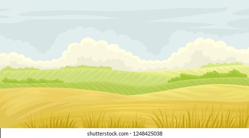 Beautiful nature landscape, meadow on a cloudy blue sky, agriculture and farming vector Illustration on a white background
