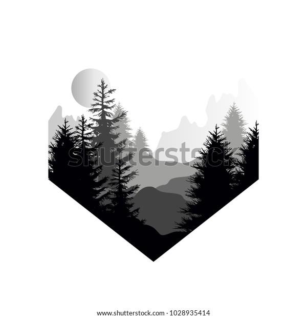 針葉樹山と太陽のシルエットを持つ美しい自然の風景幾何学的