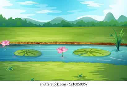 Beautiful nature river landscape illustration