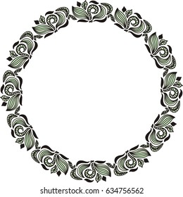 Beautiful nature round frame of leaves. Vector illustration.