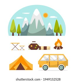 Beautiful nature scene with Camping components and landscape,  Cartoon countryside with forest camp, isolated flat Vector illustration, summer vacation travel concept