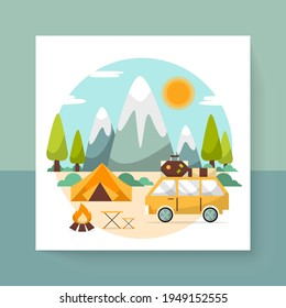 Beautiful nature scene with Camping landscape,  Cartoon countryside with forest camp, isolated flat Vector illustration, summer vacation travel concept