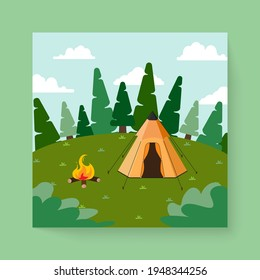 Beautiful nature scene with tent Camping landscape,  Cartoon countryside with forest camp, isolated flat Vector illustration, summer vacation travel concept