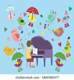 Beautiful Nature wallpaper with colourfull beautiful birds and pigeons and the little boy play the paino on the music of that birds are flying in the sky.