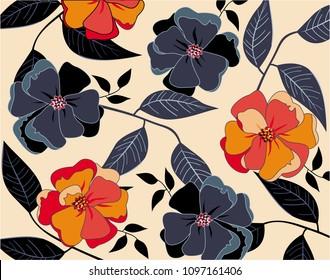 Beautiful navy blue & orange flowers