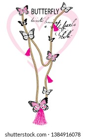 beautiful necklace with butterfly,for t-shirt design