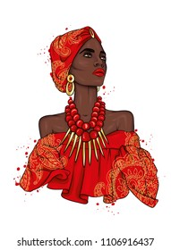 A beautiful negress in a dress and turban with patterns. Africa. Ethnic clothing and accessories, fashion and style. Vector illustration. Gold and jewels.