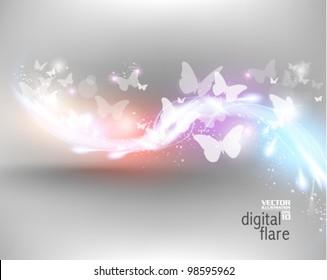 beautiful neon butterfly digital flare design