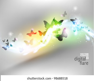 beautiful neon butterfly flare design