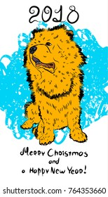 Beautiful New Year card with chow chow.