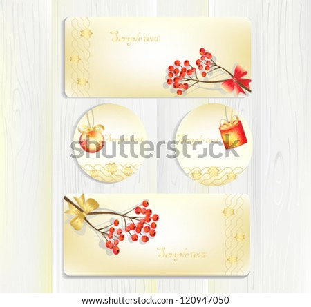 beautiful new years cards labels on a wooden background a vector