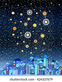 Beautiful night city with the stars and the moon made of flowers, the moon, night sky with moon, vector image of the moon and the night sky,bright moon,the night city with moon night cartoon city