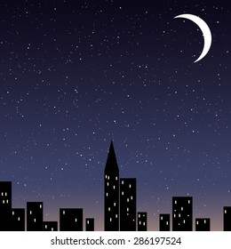 Beautiful night starry sky in the city