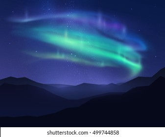 Beautiful northern lights in night sky over mountain. Vector illustration.