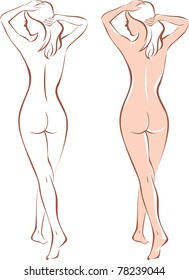beautiful nude woman silhouette