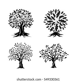 Beautiful oak trees silhouette set isolated on white background. Web infographic modern vector sign. Premium quality illustration logo design concept.