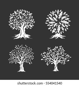 Beautiful oak trees silhouette set isolated on dark background. Web infographic modern vector sign. Premium quality illustration logo design concept.