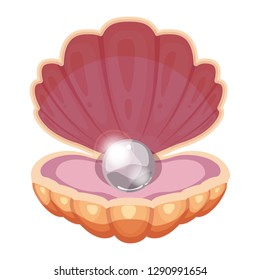 Beautiful ocean shell with a brilliant pearl. Jewelry. Cartoon style. Vector, illustration, template, isolated, white background.