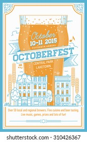 Beautiful Octoberfest beer festival vector poster, or flyer in retro style | Annual beer festival even invitation template with lettering, nonic beer glass, townhouses city street, hops and more