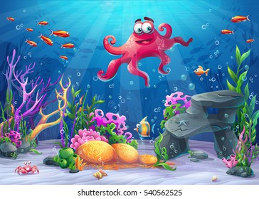 Beautiful octopus, coral and colorful reefs and algae on sand. Vector illustration of sea landscape.