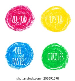 Beautiful oil pastel round design elements. Vector illustration.
