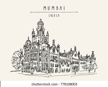 Beautiful old British colonial building in Mumbai (Bombay), India. Hand drawn postcard. Architectural marvel. Travel sketch. Vintage hand drawn postcard. Vector