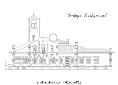 Beautiful old house vector illustration. Main facade. Vintage background.