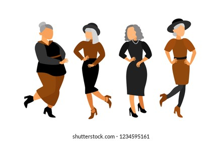 Beautiful  old ladies. Aged woman. Vector cartoon characters.