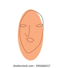 beautiful one line hand drawing face abstract portrait vector illustration