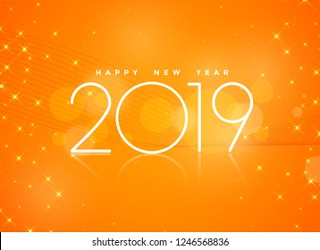 beautiful orange 2019 happy new year background