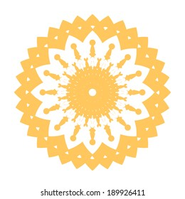 beautiful orange-yellow flower with patterns vector simple patterned and bright